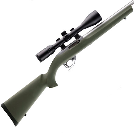 Ruger 10/22 .920 Diameter Bull Barrel Magnum Action Overmold Stock OD Green Finish