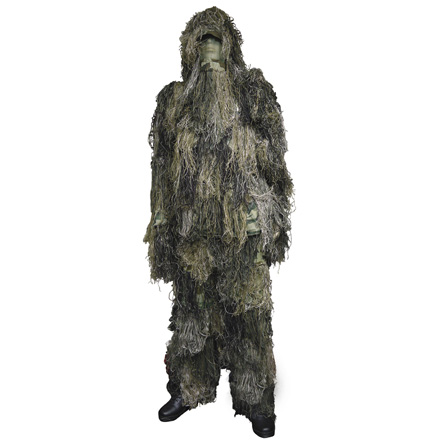 Camo Ghillie Suit Adult Large Jacket, Pants, Weapon Wrap and Removable Hood