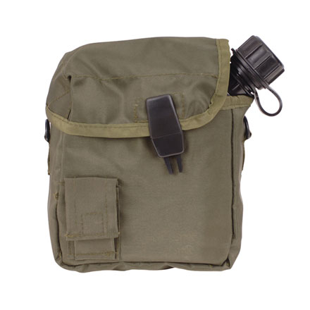 Canteen Cover, 2 Quart GI Spec Nylon, Olive Drab With ALICE Clips and Shoulder Strap