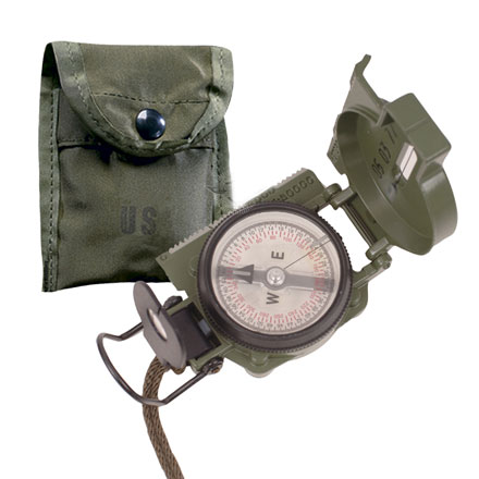 GI Lensatic Compass Night Glow Face With Lanyard and Pouch (Made by Cammenga)