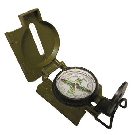 Military Lensatic Compass Liquid Filled, Luminous Letter 1 - 25,000 Meter Scale