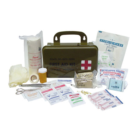 First Aid Kit, General Purpose GI Spec, in Olive Drab Carry Case