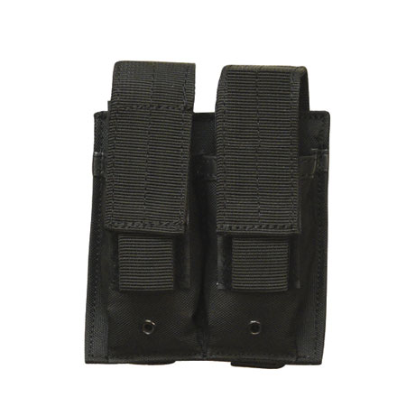 Double Mag Pistol Pouch With Adjustable Retention Strap Black Nylon