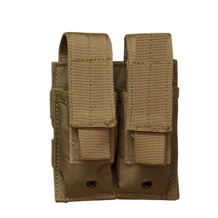 Double Mag Pistol Pouch With Adjustable Retention Strap Coyote Nylon