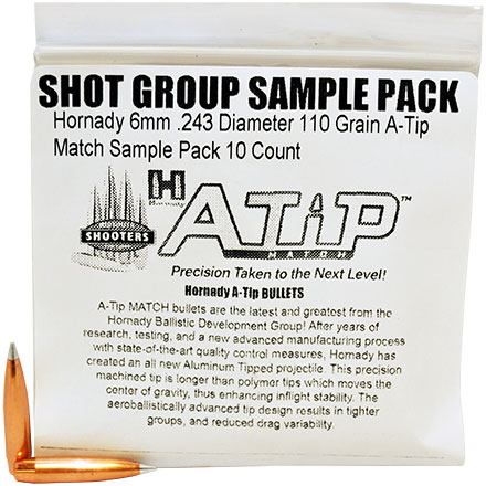 Hornady 6mm .243 Diameter 110 Grain A-Tip Match Sample Pack 10 Count