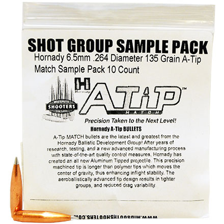 Hornady 6.5mm .264 Diameter 135 Grain A-Tip Match Sample Pack 10 Count