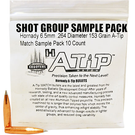 Hornady 6.5mm .264 Diameter 153 Grain A-Tip Match Sample Pack 10 Count