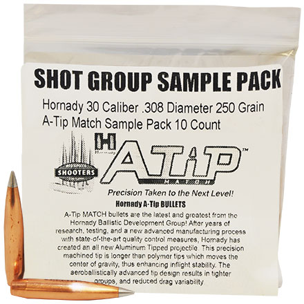 Hornady 30 Caliber .308 Diameter 250 Grain A-Tip Match Sample Pack 10 Count