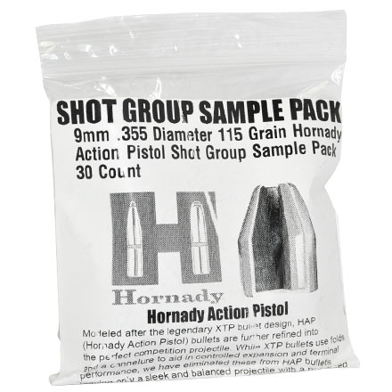 9mm .355 Diameter 115 Grain Hornady Action Pistol (HAP) Shot Group Sample Pack 30 Count