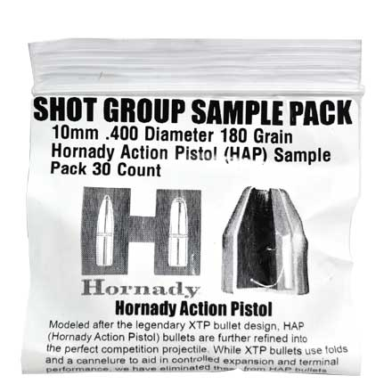 10mm .400 Diameter 180 Grain Hornady Action Pistol (HAP) Sample Pack 30 Count