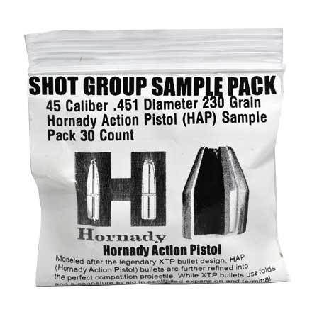 45 Caliber .451 Diameter 230 Grain Hornady Action Pistol (HAP) Sample Pack 30 Count