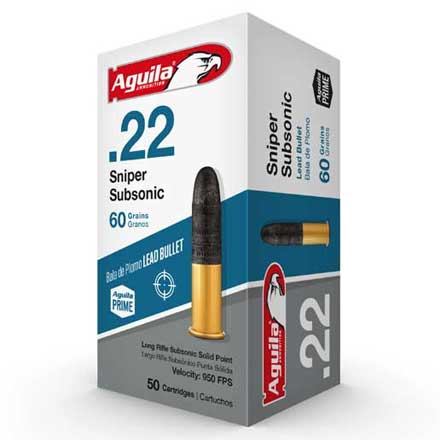 Aguila Sniper Subsonic 22 LR Subsonic Lead Solid Point 60 Grain 50 Rounds 950 FPS