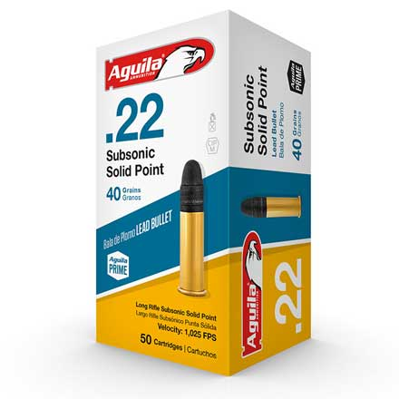Aguila .22 LR (Long Rifle) Subsonic Solid Point 40 Grain 50 Rounds