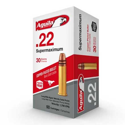 Aguila Supermaximum 22 LR Hyper Velocity Copper-Plated Solid Point 30 Grain  50 Rounds 1700FPS