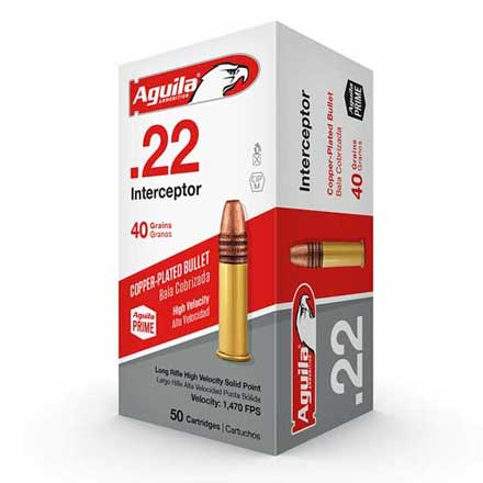 Aguila Interceptor 22 LR High Velocity Copper-Plated Solid Point 40 Grain 50 Rounds 1470 FPS