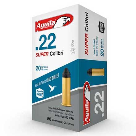 Aguila Super Colibri 22 LR Subsonic Lead 20 Grain 50 Rounds 590 FPS