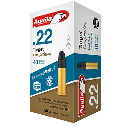 Aguila Target Competition 22 LR Standard Velocity Lead Solid Point 40 Grain 50 Rounds 1080 fps
