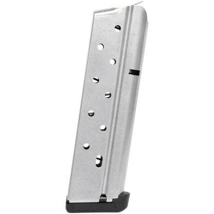 1911 Mag .38 Super 10 Round Magazine Stainless Finish With Pad