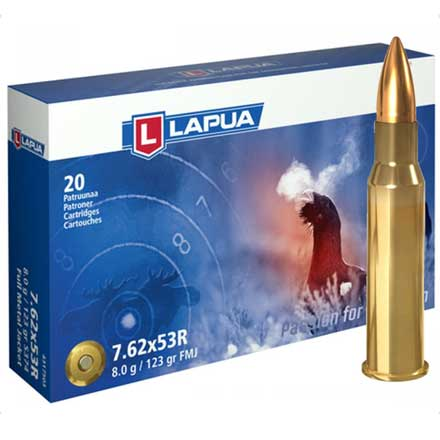 Lapua Ammunition 7.62x53R 123 Grain Full Metal Jacket 20 Rounds