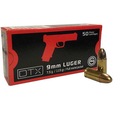 GECO 9mm Luger DTX 115 Grain Full Metal Jacket Round Nose 50 Rounds 20 box per case