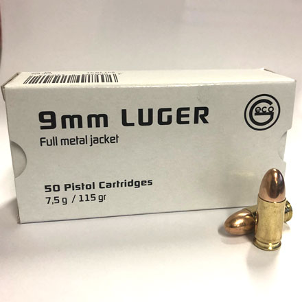 GECO Range Ammo 9mm Luger 115 Grain Full Metal Jacket Round Nose 50 Rounds
