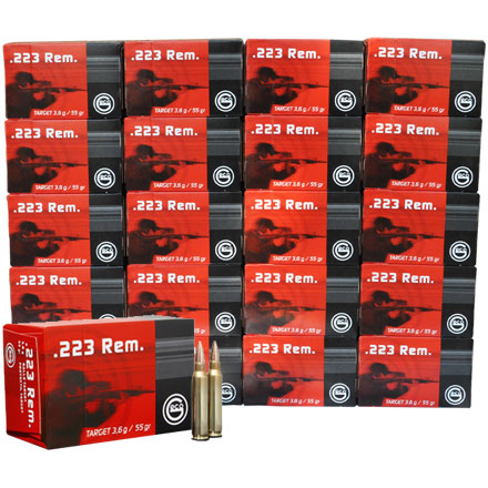 Image for GECO .223 Remington 55 Grain Full Metal Jacket 1000 Round Case 20 Boxes of 50 Count