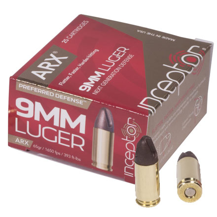 Inceptor 9mm Luger Plus P 65 Grain ARX Defense 1695fps 25 Rounds