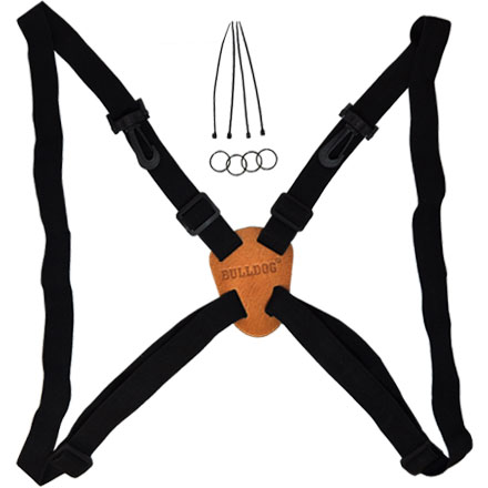 Black Adjustable/Stretching Binocular Harness with Leather Back