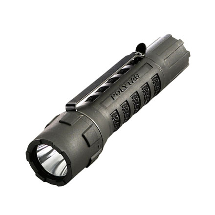 Poly Tac LED 120 Lumens Black With Two 3V CR123A Lithium Batteries