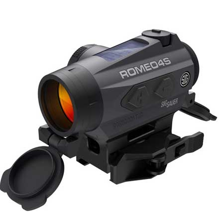 Romeo4S Red Dot Sight Ballistic Circle Dot Solar 0.5 MOA Side Battery Torx and QR Mounts Graphite