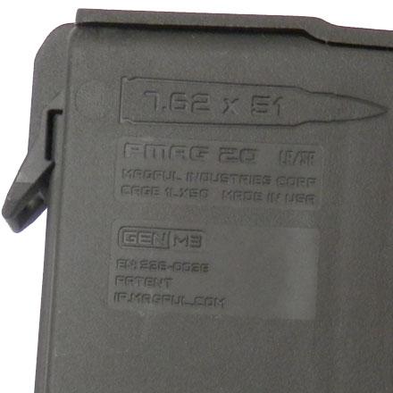 Magpul PMAG GEN M3, 7.62mm/308cal/6.5 Creedmoor/.338 Federal, 20 Round,  Polymer