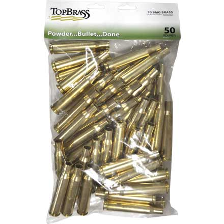 Top Brass 50 BMG Reconditioned Unprimed Rifle Brass 50 Count