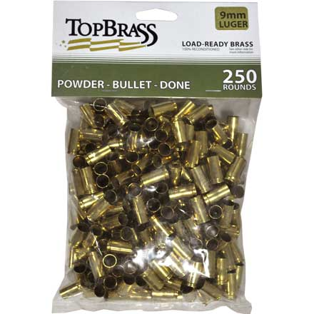 Top Brass 9mm Luger Reconditioned Unprimed Pistol Brass 250 Count