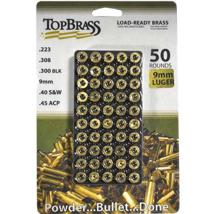 Top Brass 9mm Luger Reconditioned Unprimed Pistol Brass 50 Count
