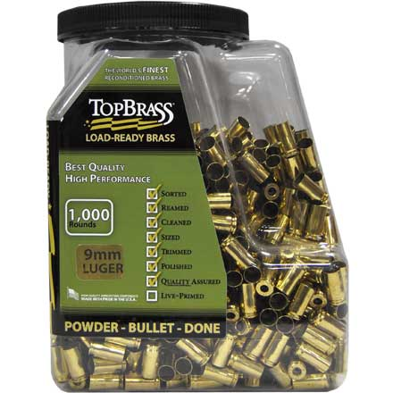 Top Brass 9mm Luger Reconditioned Unprimed Pistol Brass 1,000 Count