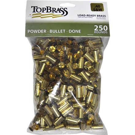 Top Brass 40 Smith & Wesson Reconditioned Unprimed Pistol Brass 250 Count