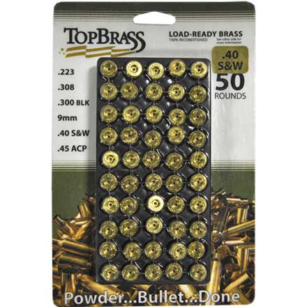 Top Brass 40 Smith & Wesson Reconditioned Unprimed Pistol Brass 50 Count