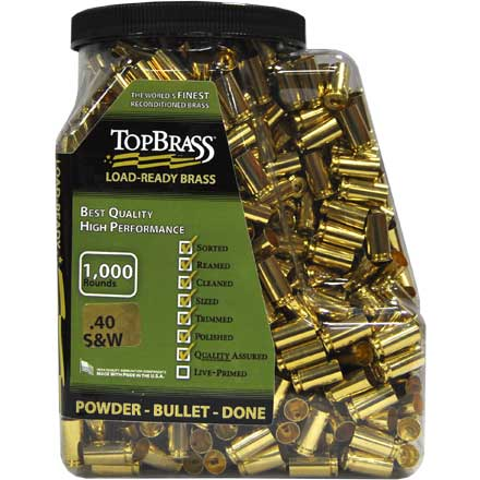 Top Brass 40 Smith & Wesson Reconditioned Unprimed Pistol Brass 1,000 Count