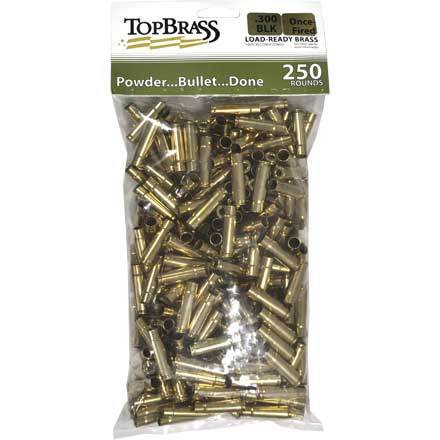 Top Brass 300 Blackout Reconditioned Unprimed Rifle Brass 250 Count