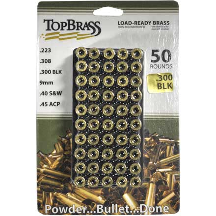 Top Brass 300 Blackout Reconditioned Unprimed Rifle Brass 50 Count