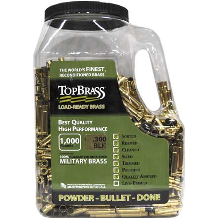 Top Brass 300 Blackout Reconditioned Unprimed Rifle Brass 1,000 Count