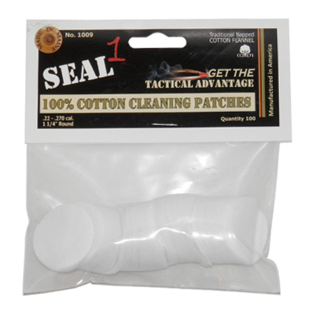 "Image for Seal 1 1-1/4"" .22-.270 100% Cotton Cleaning Patches (100 Per Bag)"