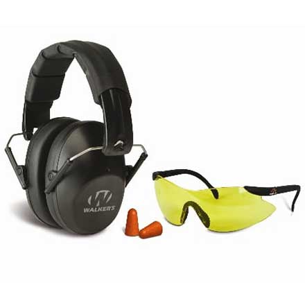 Walker's Pro-Low Profile Folding Earmuffs and Shooting Glasses Kit NRR 22