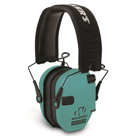 Walker's Razor Slim Low Profile Electronic Earmuffs Light Teal