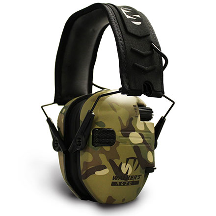 Walker's Razor Slim Low Profile Electronic Earmuffs Multicam Camo & Tan