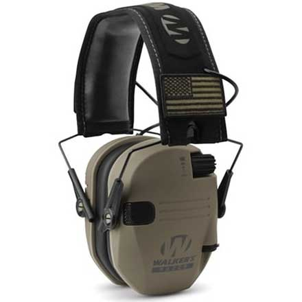 Walker's RAZOR Slim Ear Muffs PATRIOT With 2 Flag Patches
