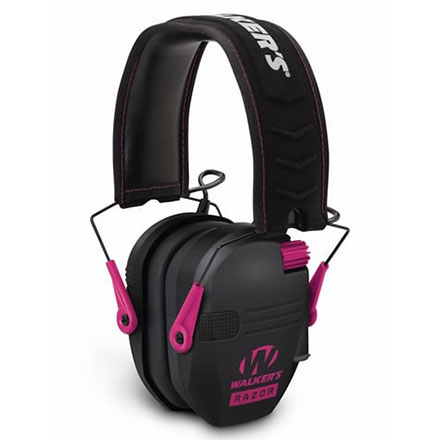 Walker's Razor Slim Low Profile Electronic Earmuffs Black w/Pink Accent
