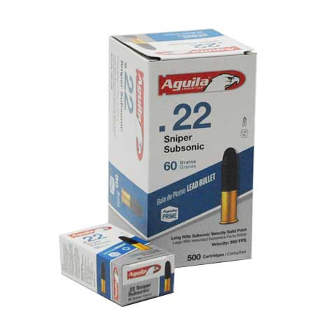 Aguila Sniper Subsonic 22 LR Subsonic Lead Solid Point 60 Grain 500 Rounds 950 FPS