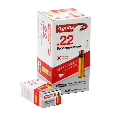 Aguila Supermaximum 22 LR Hyper Velocity Copper-Plated Solid Point 30 Grain 500 Rounds 1700FPS