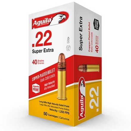 Aguila Super Extra 22 LR High Velocity Copper-Plated Solid Point 40 Grain 500 Rounds 1255 FPS